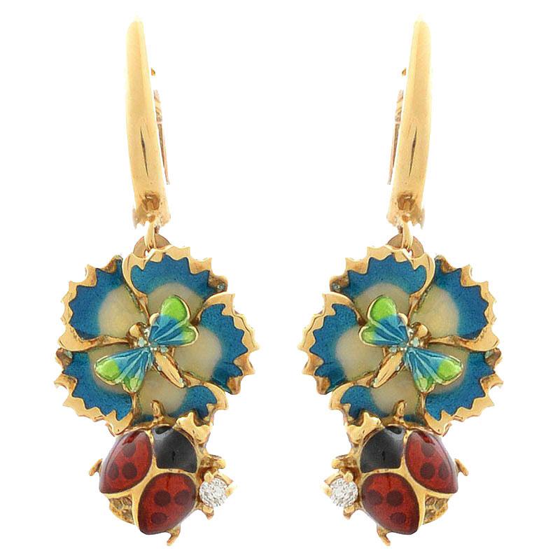 Серьги Roberto Bravo Noahs Ark золотые с бриллиантами и маленькими стрекозами на цветах