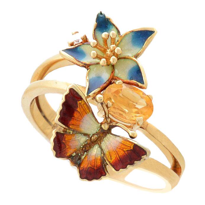 Кольцо Roberto Bravo Noahs Ark золотое с цветами цитрином и бриллиантом