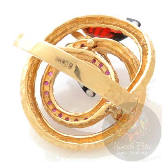 Кольцо Roberto Bravo Monarch Butterflies золотое с бриллиантом и рубинами