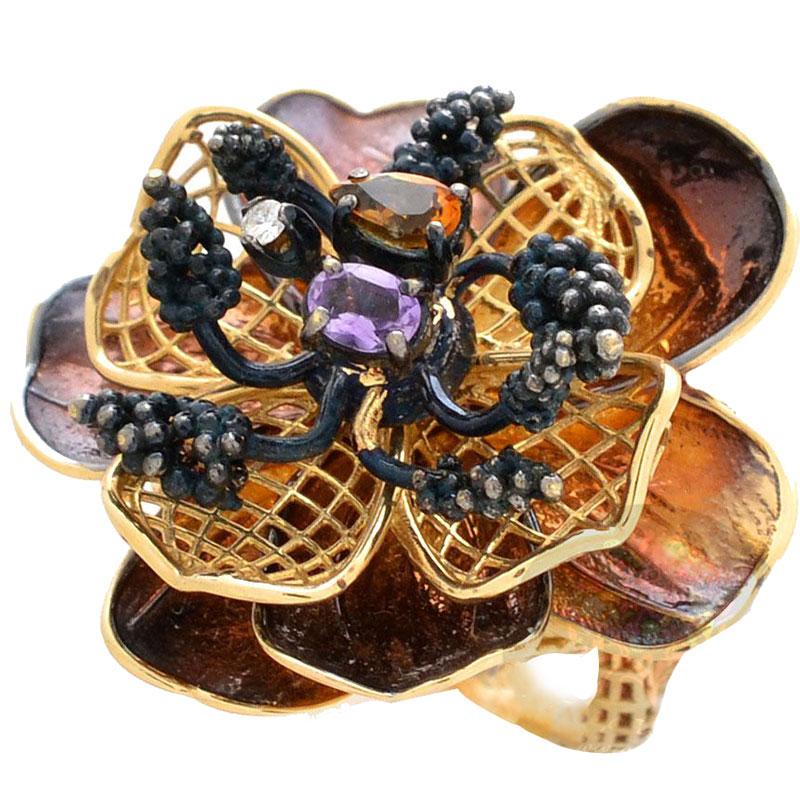 Кольцо Roberto Bravo Gallica золотое в виде цветка с аметистом цитрином и бриллиантом