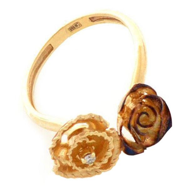 Кольцо Roberto Bravo Gallica золотое с розами и бриллиантом