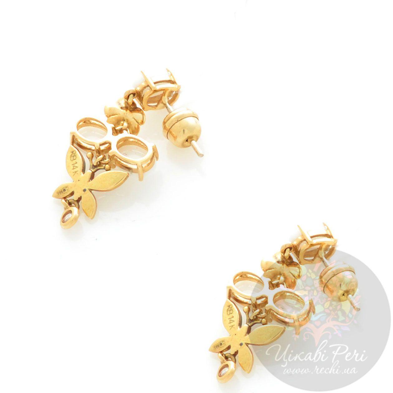 Серьги Roberto Bravo White Dreams золотые длинные с овальными белыми агатами и бриллиантами