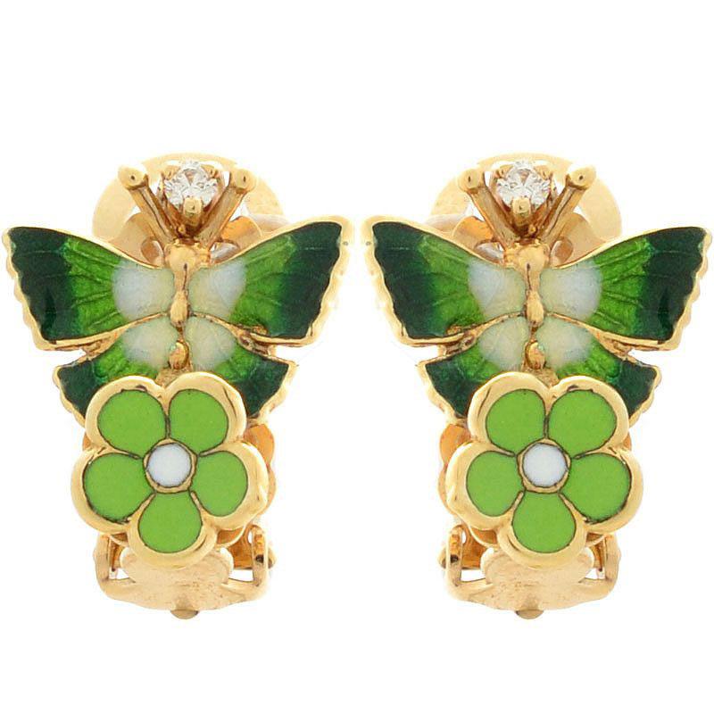 Серьги Roberto Bravo Noahs Ark золотые с бабочками и бриллиантами