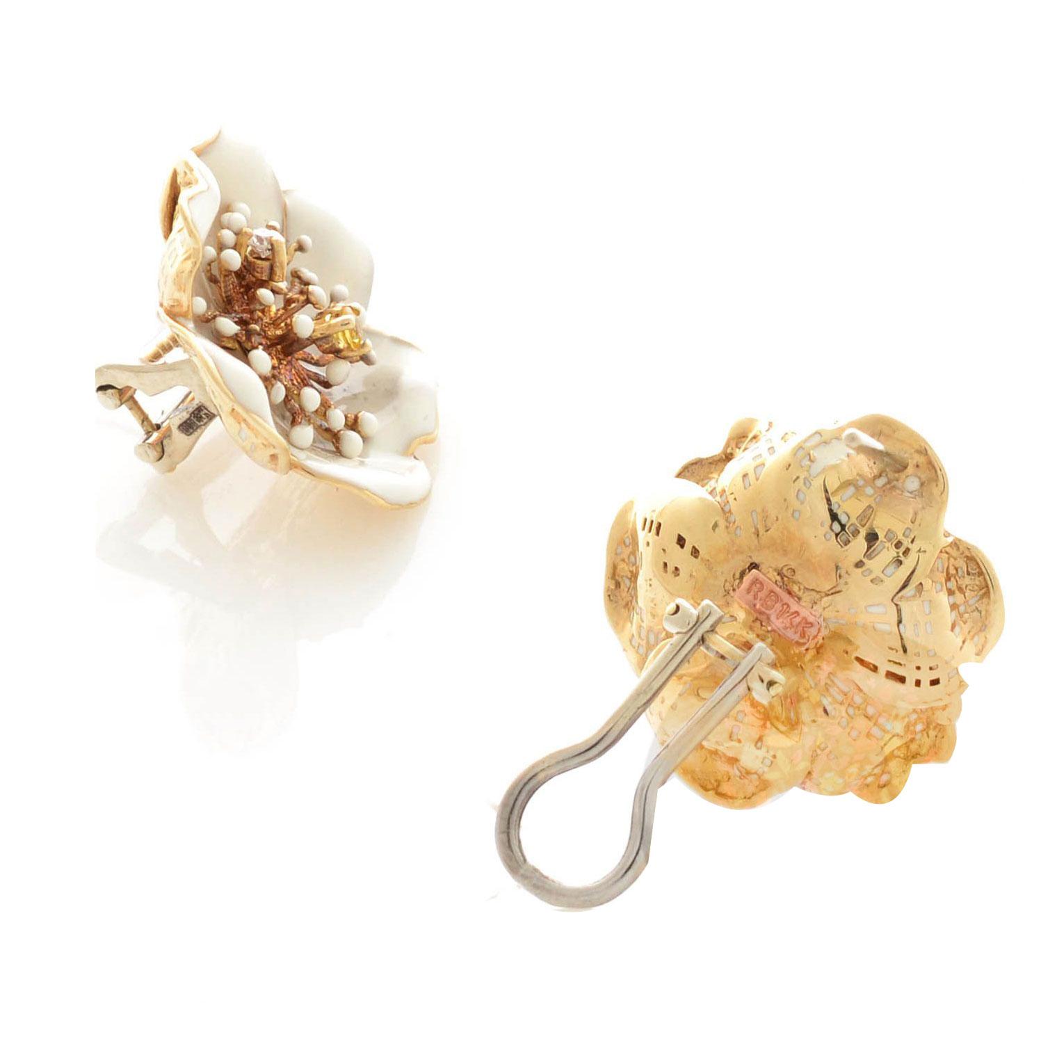 Серьги Roberto Bravo White Dreams золотые в виде белого цветка с цитрином и бриллиантом