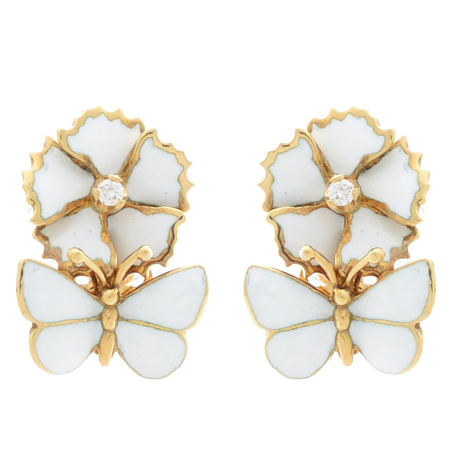 Серьги Roberto Bravo White Dreams золотые с бабочками и цветами с бриллиантами