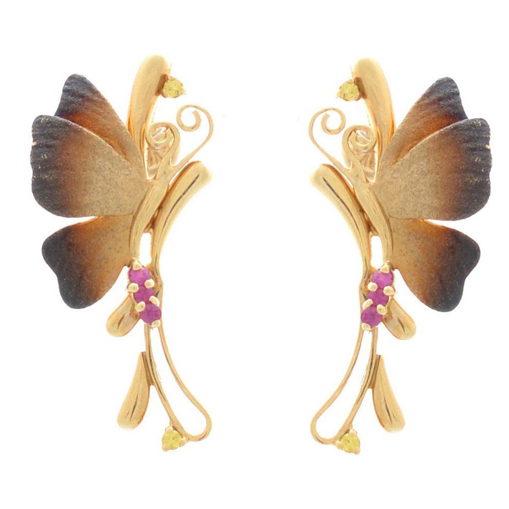Серьги Roberto Bravo Global Warming золотые с бабочками рубинами и цитринами