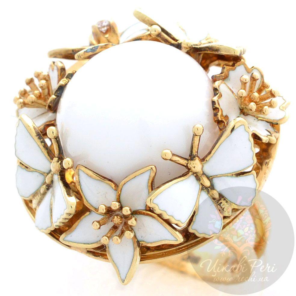 Кольцо Roberto Bravo White Dreams золотое с бриллиантом и большим агатом в окружении цветов и бабочек