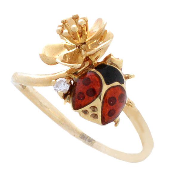 Кольцо Roberto Bravo Noahs Ark с золотым цветком божьей коровкой и бриллиантом