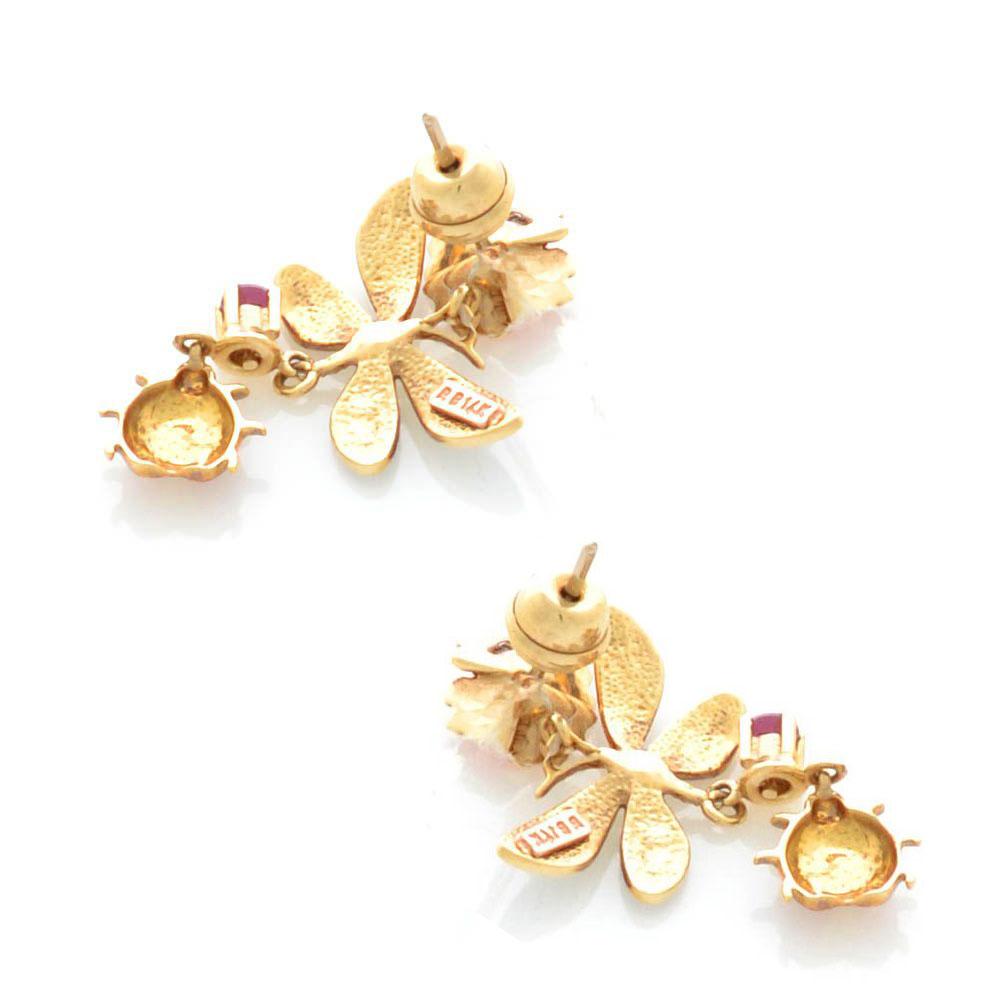 Серьги-гвоздики Roberto Bravo Noahs Ark золотые с длинными подвесками со стрекозами аметистами и бриллиантами