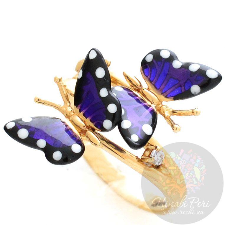 Кольцо Roberto Bravo Monarch Butterflies золотое пурпурное с бриллиантом