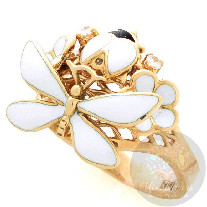 Кольцо Roberto Bravo White Dreams золотое со стрекозой и бриллиантами