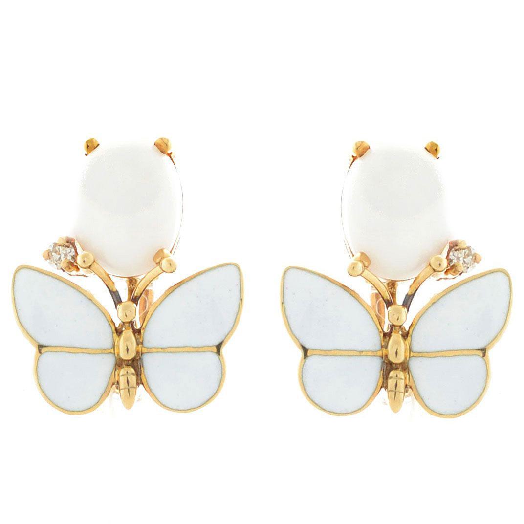 Серьги Roberto Bravo White Dreams золотые с бабочками овальными агатами и бриллиантами