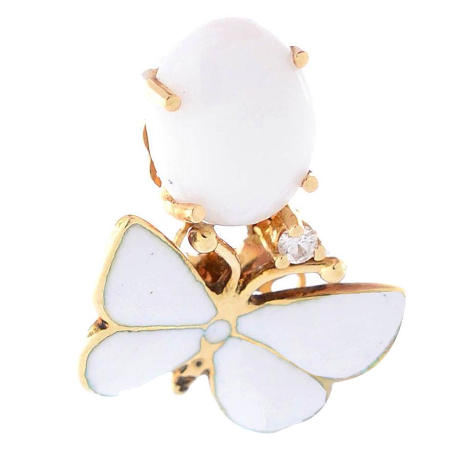Подвеска Roberto Bravo White Dreams золотая с бабочкой овальным агатом и бриллиантом