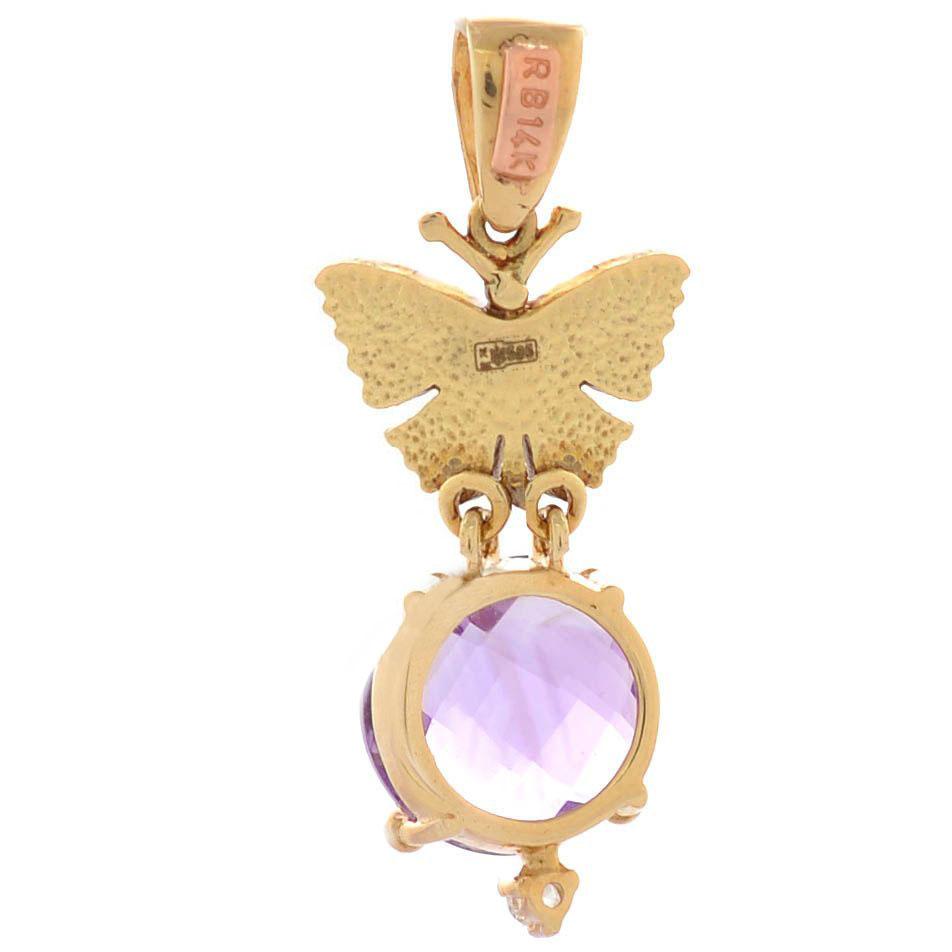 Подвеска Roberto Bravo Noahs Ark из золота с бабочкой бриллиантом и крупным аметистом