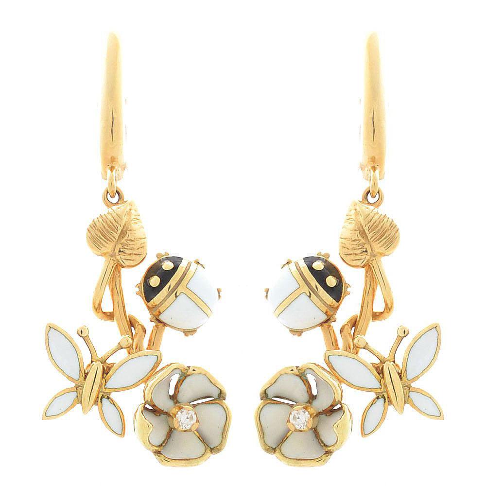 Серьги Roberto Bravo White Dreams золотые с бриллиантами на цветах стрекозами и божьими коровками
