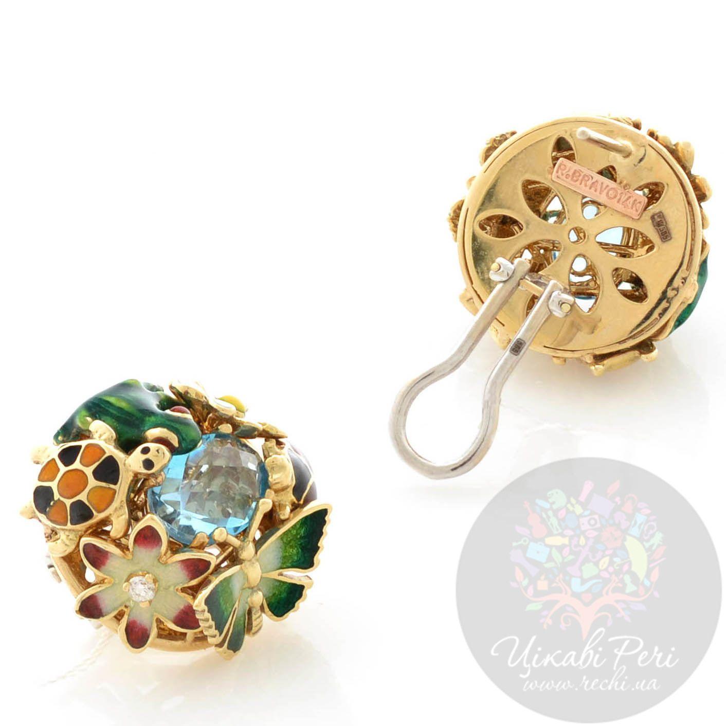 Серьги Roberto Bravo Noahs Ark золотые с овальными топазами и бриллиантами