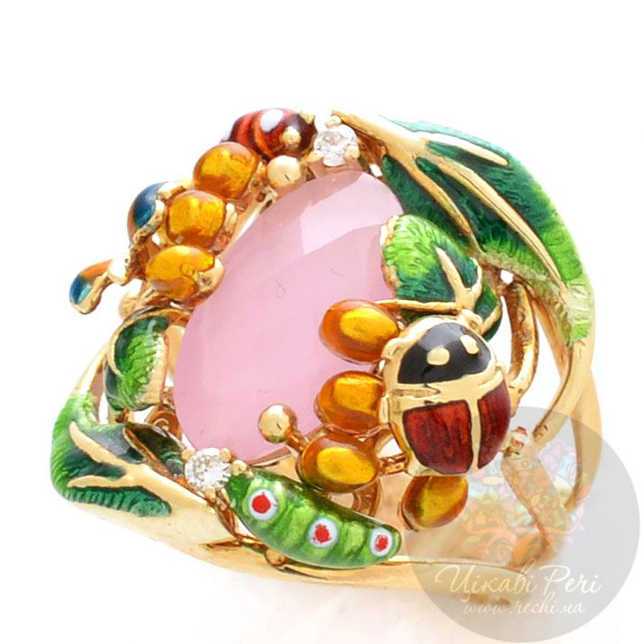 Золотой перстень Roberto Bravo Noahs Ark с розовым кварцем и бриллиантами