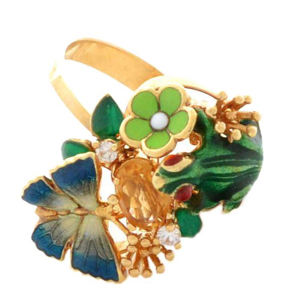 Кольцо Roberto Bravo Noahs Ark золотое с лягушкой цитрином и бриллиантом