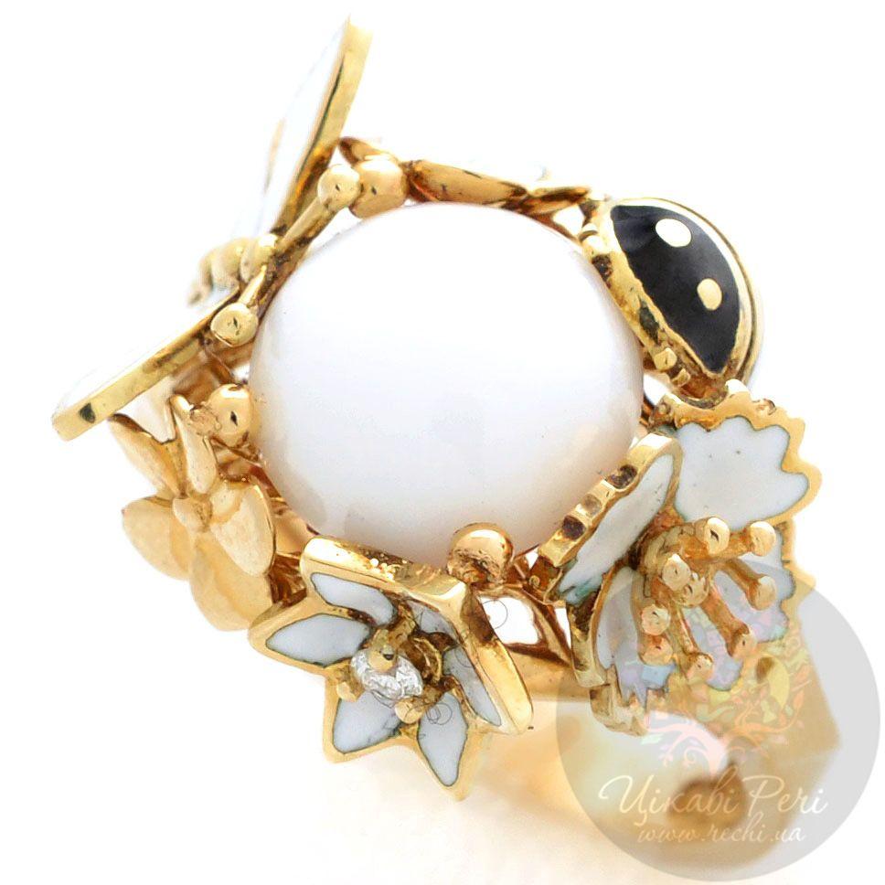 Кольцо Roberto Bravo White Dreams золотое с бриллиантом и агатом в окружении цветов стрекозы и коровки