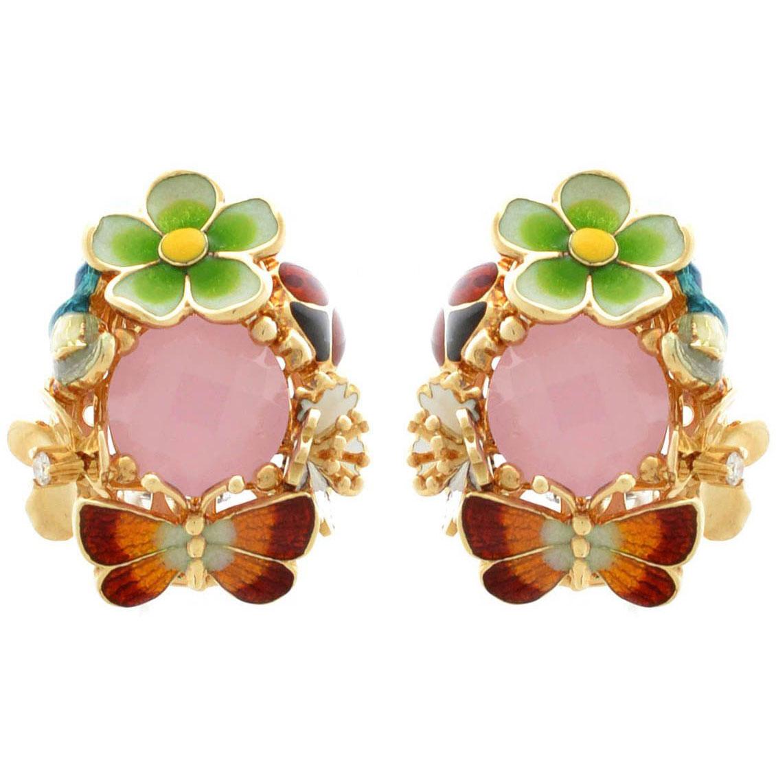 Серьги Roberto Bravo Noahs Ark золотые с розовым кварцем и бриллиантами