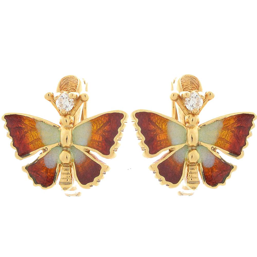 Серьги Roberto Bravo Noahs Ark золотые в виде бабочек с бриллиантами