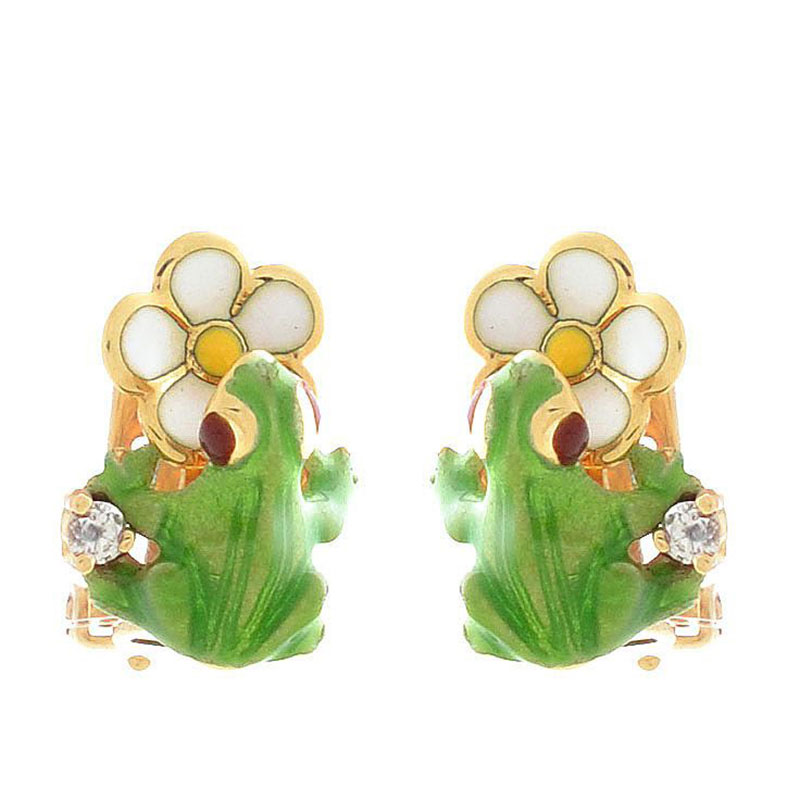 Серьги Roberto Bravo Noahs Ark золотые с белыми цветами лягушками и бриллиантами