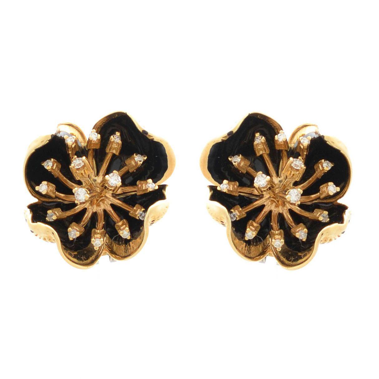 Серьги Roberto Bravo Gallica золотые в виде цветов с 30 бриллиантами