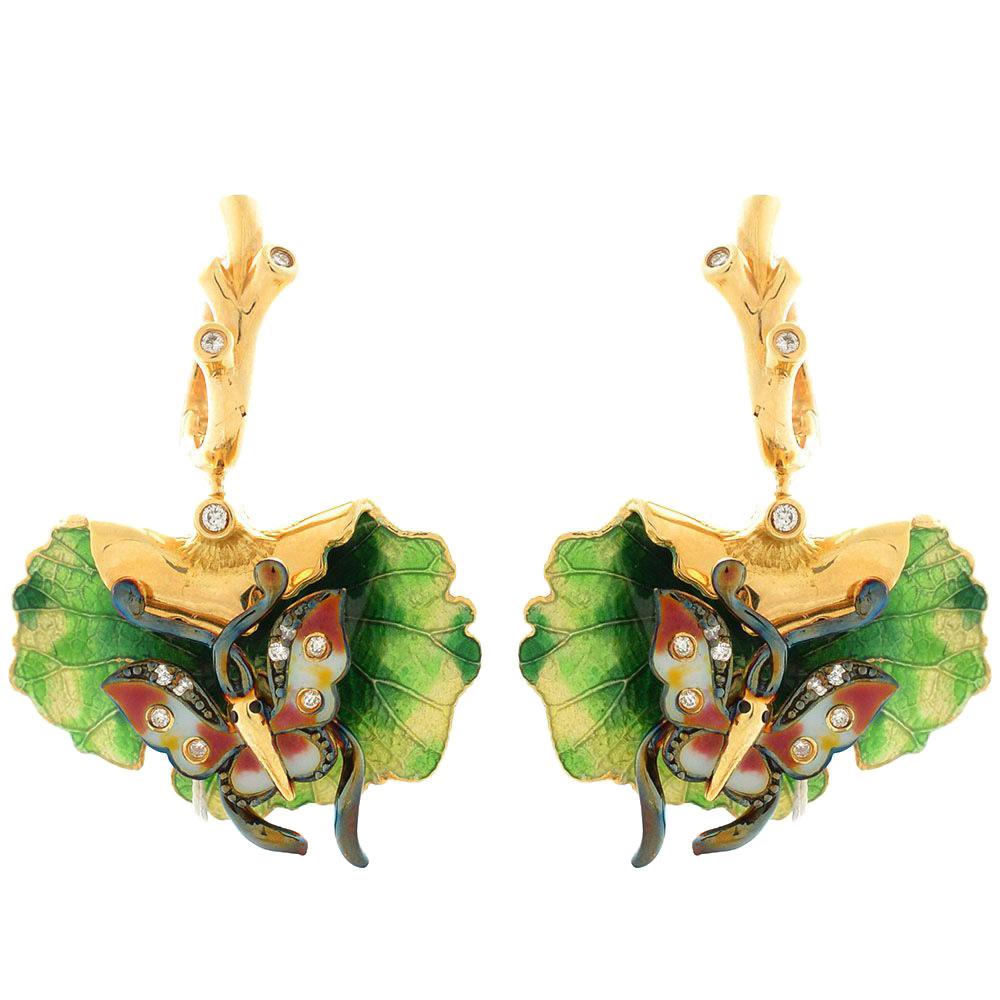 Серьги Roberto Bravo Noahs Ark золотые с бабочками на листочках с бриллиантами