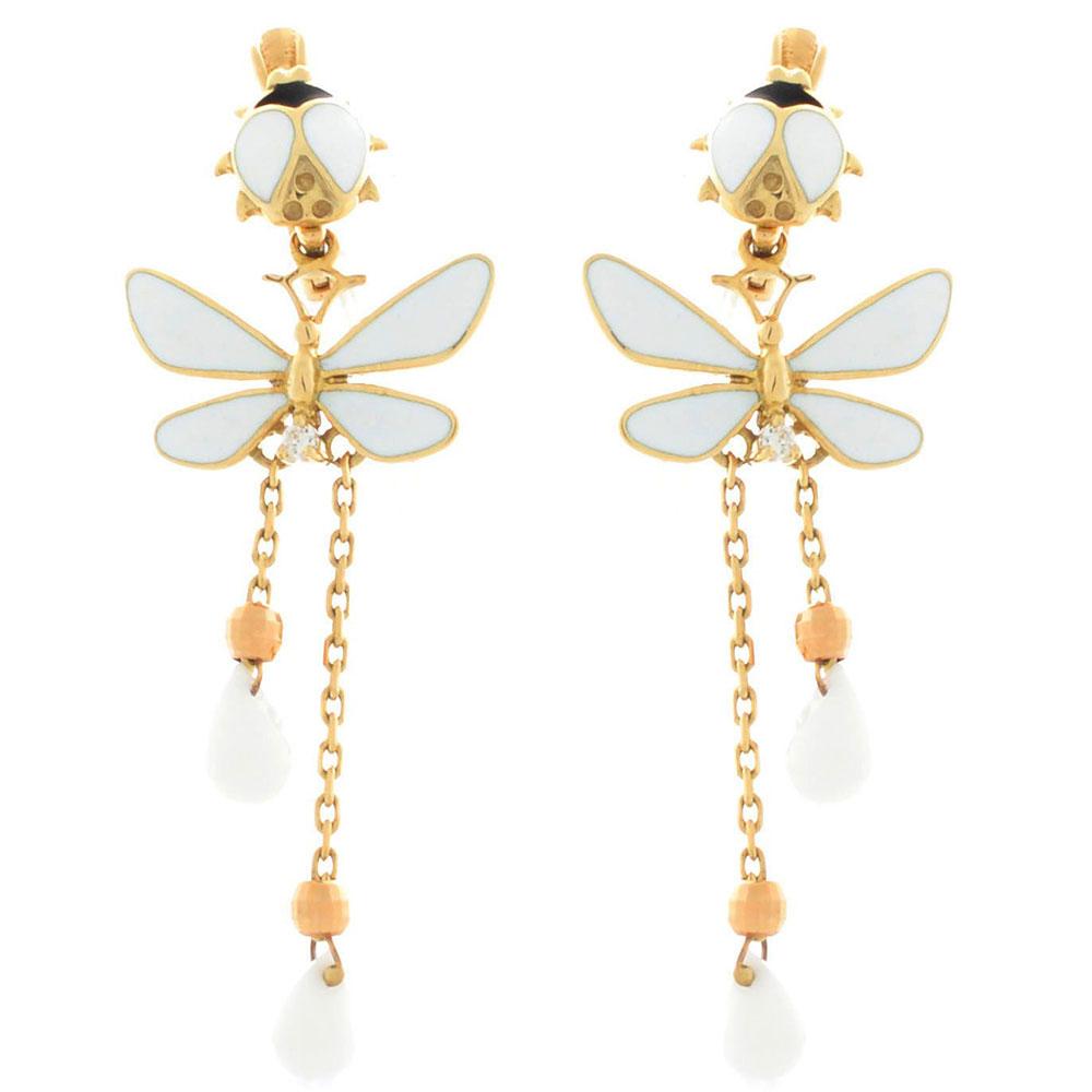Серьги Roberto Bravo White Dreams золотые с длинными подвесками со стрекозами агатами и бриллиантами