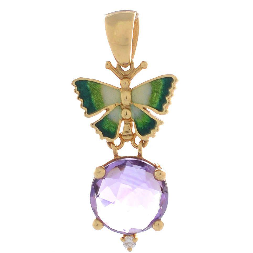 Подвеска Roberto Bravo Noahs Ark из золота с зеленой бабочкой бриллиантом и крупным аметистом