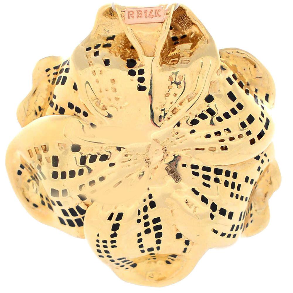 Кулон Roberto Bravo Black Magic золотой в виде цветка с черной эмалью и 21 бриллиантом