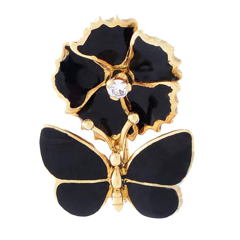 Подвеска Roberto Bravo Black Magic золотая с цветком и бабочкой в черной эмали с бриллиантом