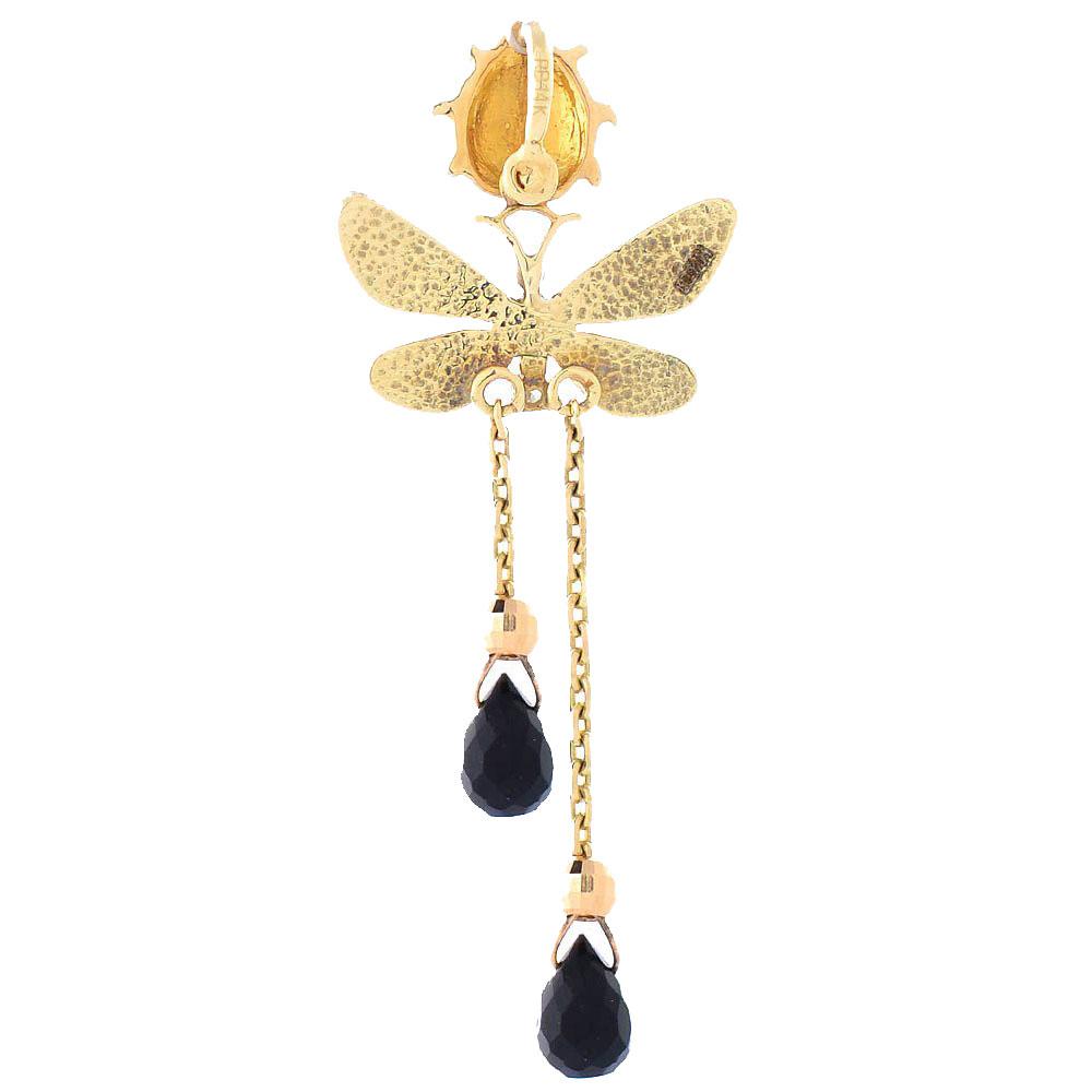 Подвеска Roberto Bravo Black Magic длинная золотая с бриллиантом и ониксом