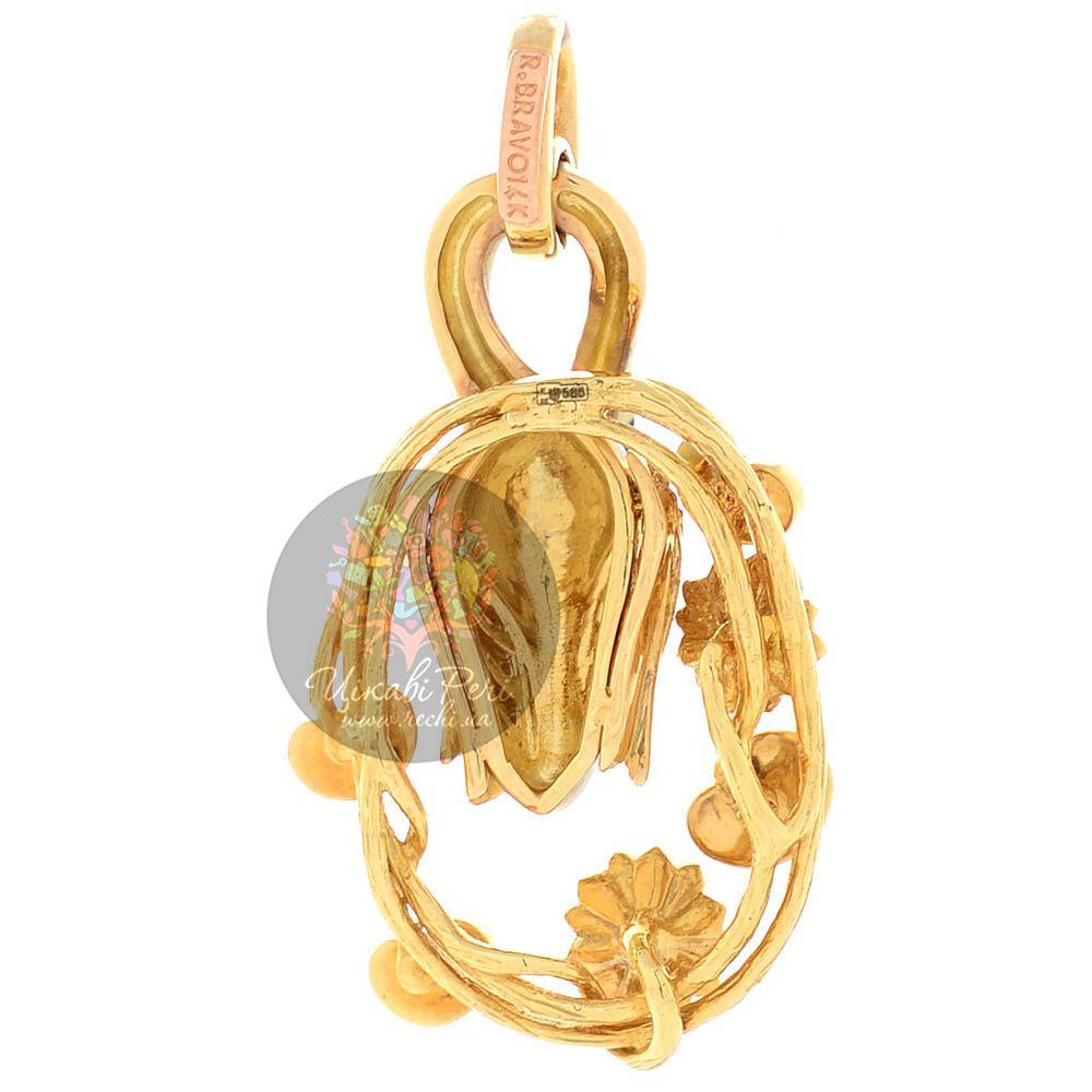 Подвеска Roberto Bravo Swan Lake золотая белый лебель с кувшинками в 35 бриллиантах