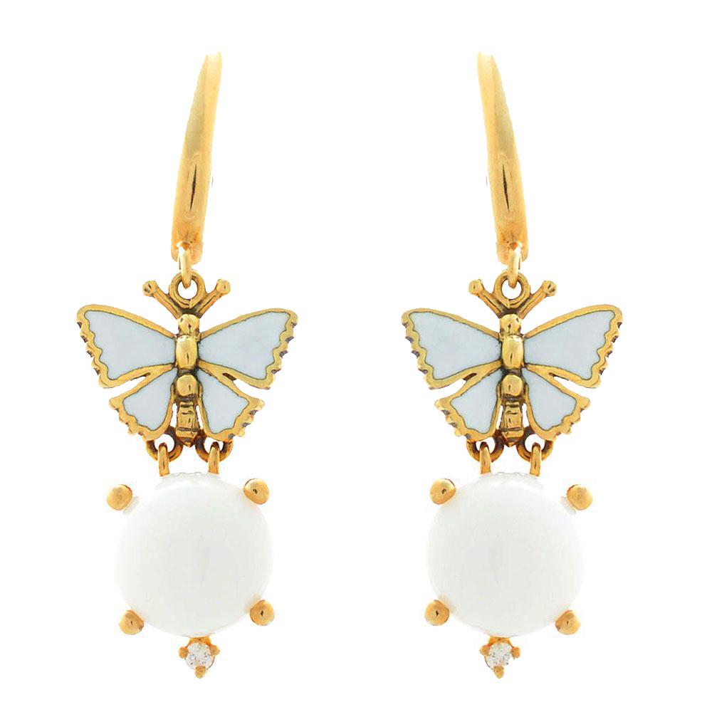 Серьги Roberto Bravo White Dreams золотые с бабочками агатами и бриллиантами