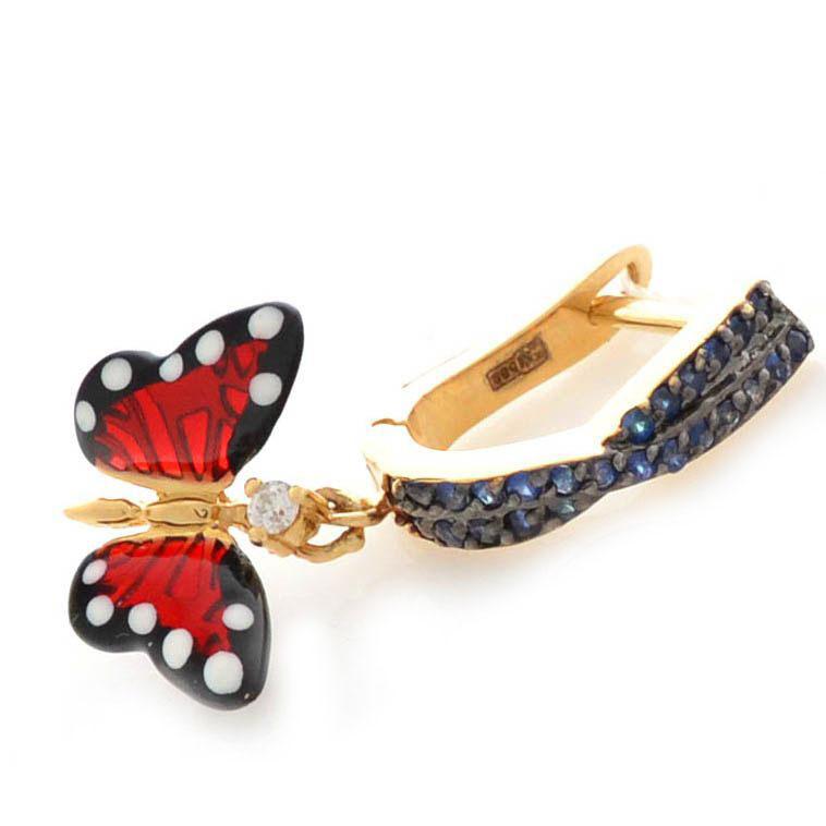 Серьги Roberto Bravo Monarch Butterflies золотые с сапфирами и бриллиантами