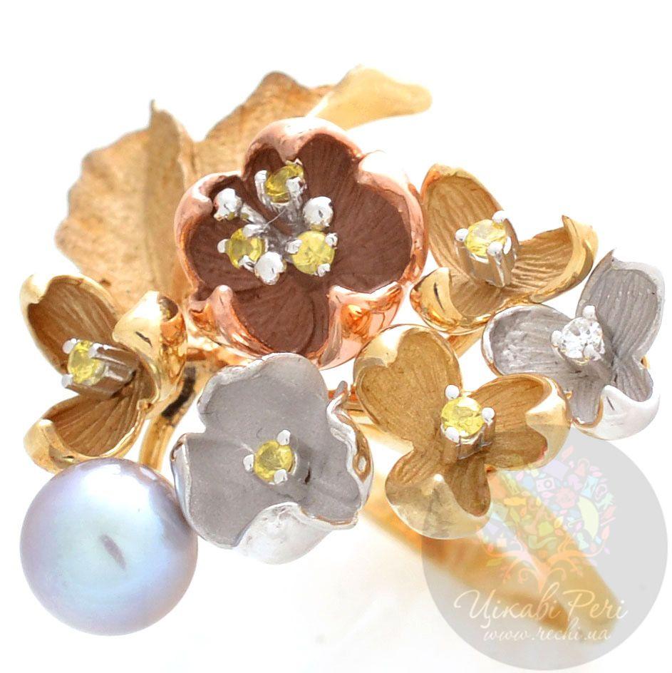 Кольцо Roberto Bravo Karina в виде букета с жемчугом сапфирами и бриллиантом