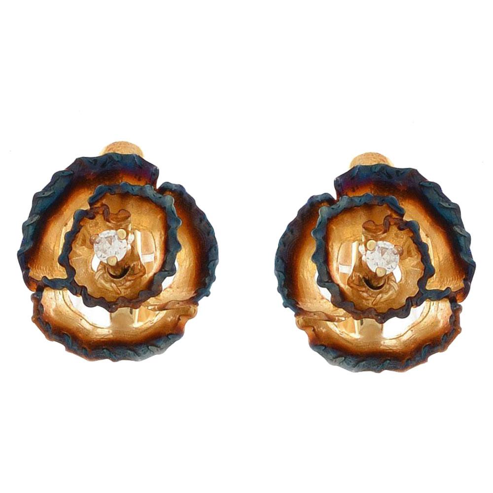 Серьги Roberto Bravo Gallica золотые в виде роз с бриллиантами на английской застежке