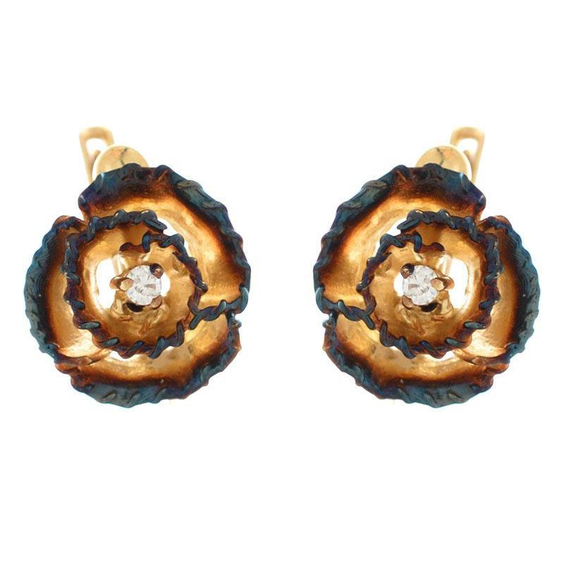 Серьги Roberto Bravo Gallica побольше в виде роз с бриллиантами на английской застежке