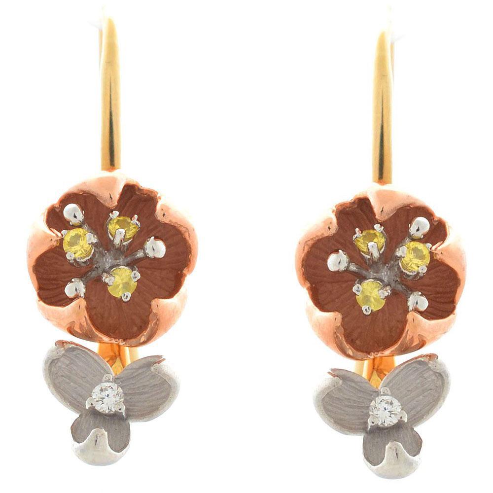 Серьги Roberto Bravo Karina в виде цветов с бриллиантами и желтыми сапфирами