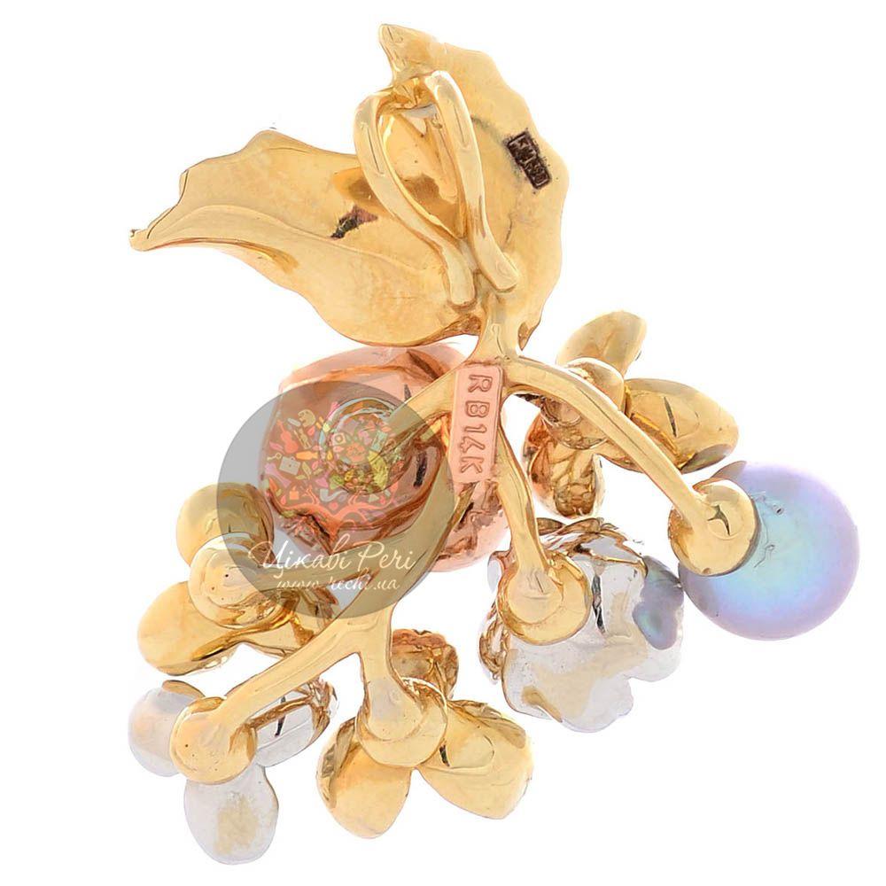 Подвеска Roberto Bravo Karina золотая в виде цветущей веточки с жемчугом бриллиантом и сапфирами