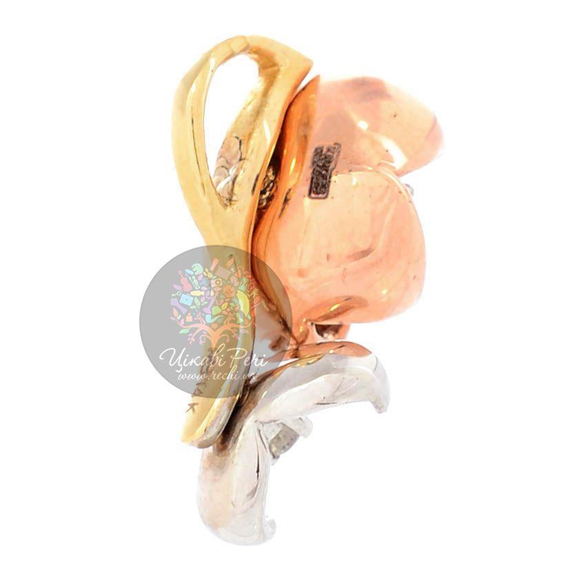 Золотой кулон Roberto Bravo Karina из двух цветов с бриллиантом и сапфирами