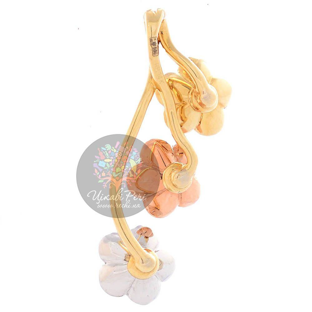 Золотая подвеска Roberto Bravo Karina тройной цветок с бриллиантом и сапфирами