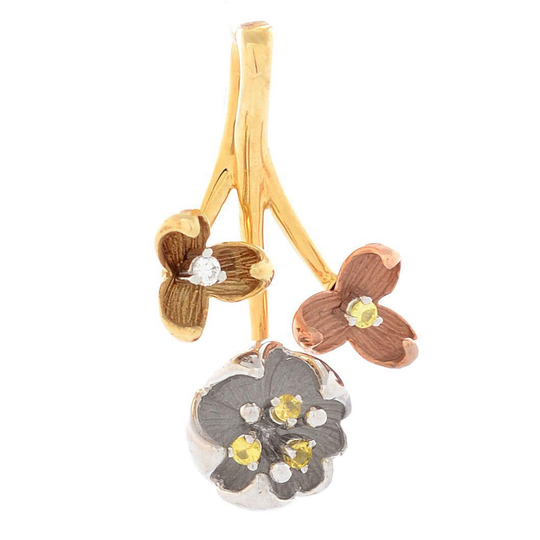 Подвеска Roberto Bravo Karina золотая из трех цветов с бриллиантом и сапфирами