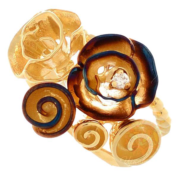 Кольцо Roberto Bravo Gallica с золотыми розами и бриллиантом