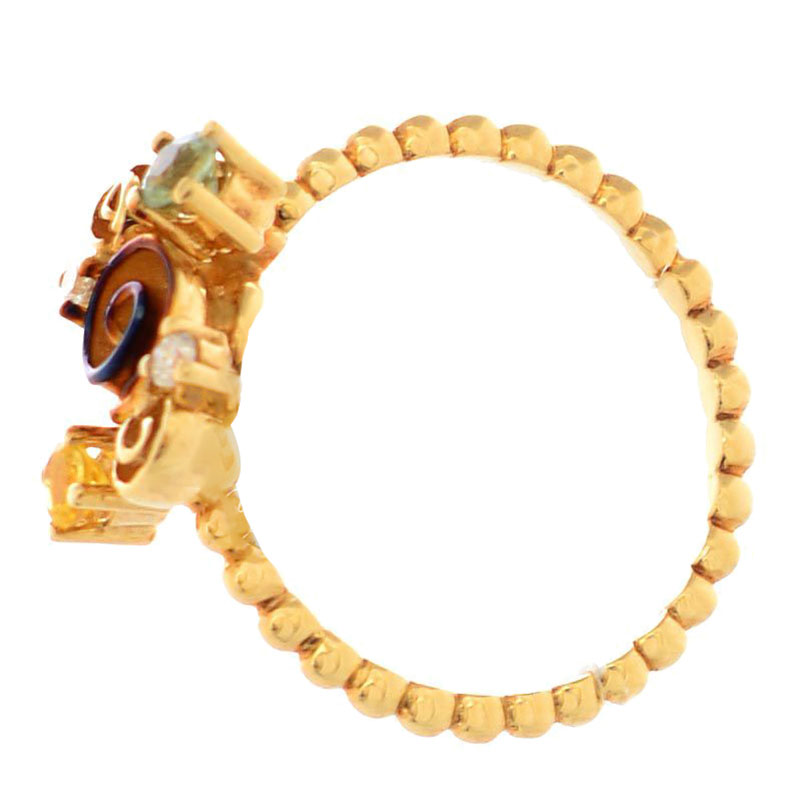 Золотое кольцо Roberto Bravo Gallica с бриллиантом желтым сапфиром и розой