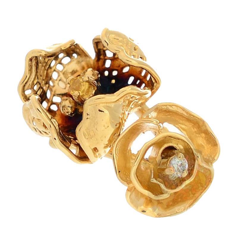 Золотое кольцо Roberto Bravo Gallica с бриллиантом сапфиром и цветами
