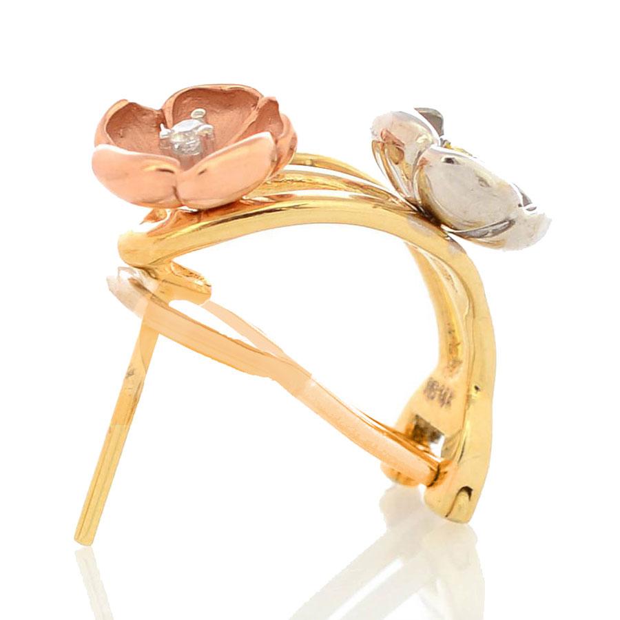Серьги Roberto Bravo Karina трехцветные золотые с цветами бриллиантами и сапфирами на итальянском замке
