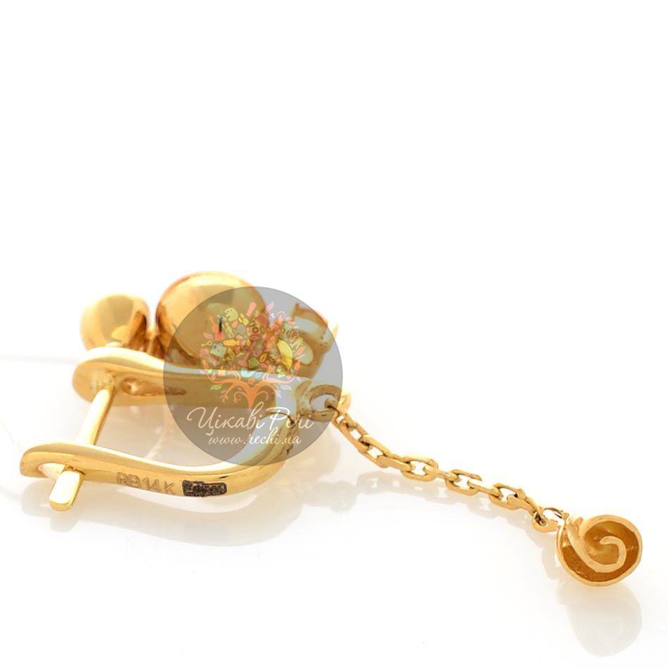 Золотые длинные серьги Roberto Bravo Gallica с бриллиантами цитринами и розами