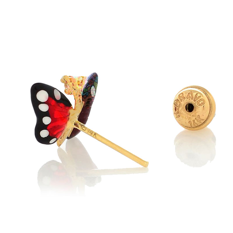 Серьги Roberto Bravo Monarch Butterflies золотые с бабочками и бриллиантами